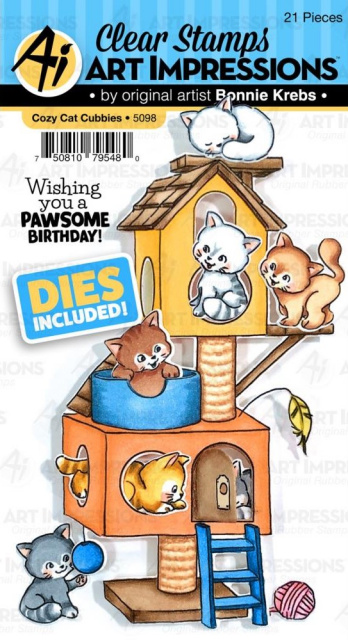 Cozy Cat Critter Cubbies/Stamps and Dies