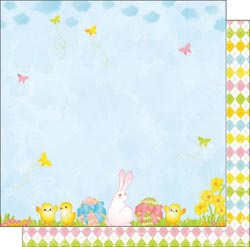 12x12 Double Sided Glitter Paper Bunny Love Hunting Eggs