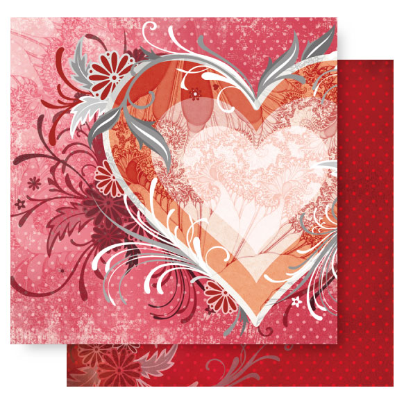 12x12 Double Sided Glitter-From The Heart