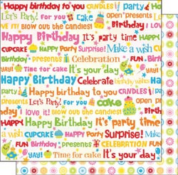 12x12 Double Sided Glitter Let's Party Birthday Words
