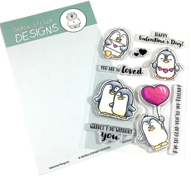 Valentine Penguins Stamps/Clear