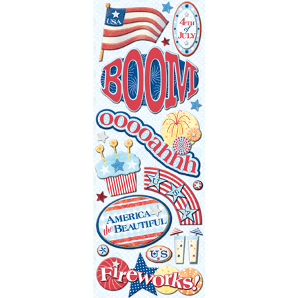 4th Of July Adhesive Chipboard