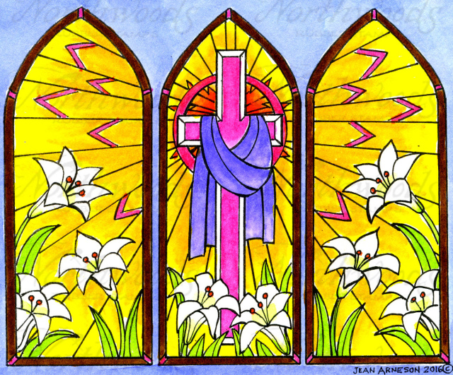 Three Panel Stained Glass