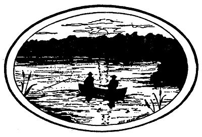 Fishing Silhouette Oval