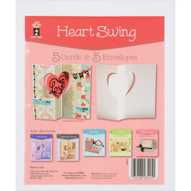 Heart Swing Cards and Envelopes 5pkg.
