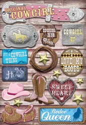 Cardstock Stickers Cowgirl