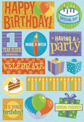 Cardstock Stickers/Birthday Party